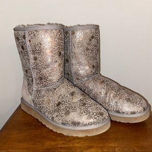 Grey Short Fancy Print UGG Boots